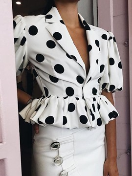 Ericdress Polka Dots Short Sleeve Short Women's Blouse
