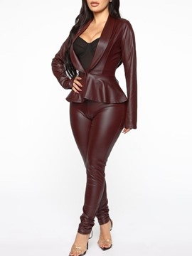 Ericdress Leather Coat Western Plain Pencil Pants Two Piece Sets