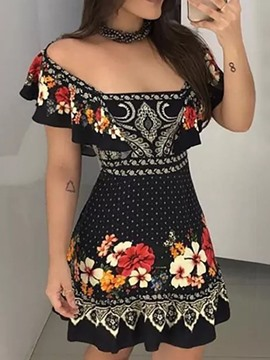 Ericdress Backless Short Sleeve Above Knee Sexy Pullover Dress