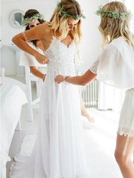 Ericdress Sweep/Brush Lace Spaghetti Straps A-Line Beach Wedding Dress