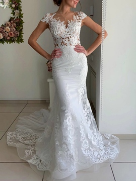 Ericdress Floor-Length Appliques Cap Sleeves Court Church Wedding Dress