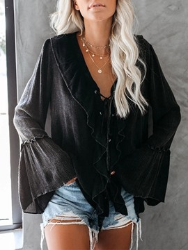 Ericdress V-Neck Long Sleeve Standard Blouse