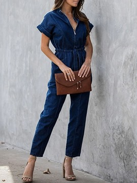 Ericdress Plain Ankle Length Zipper Loose Straight Jumpsuit