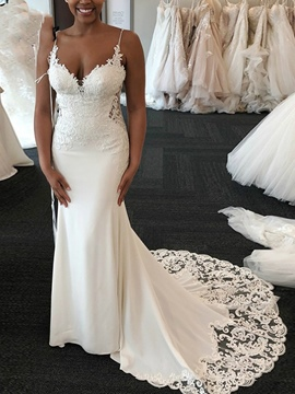 Ericdress Sleeveless Spaghetti Straps Trumpet/Mermaid Court Hall Wedding Dress