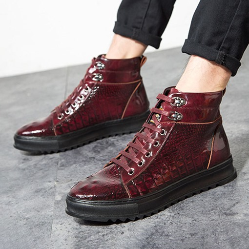 Ericdress Round Toe Platform Lace-Up Front PU Boots