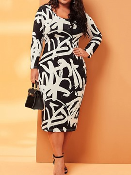 Ericdress Print Scoop Long Sleeve Color Block Date Night/Going Out Bodycon Dress