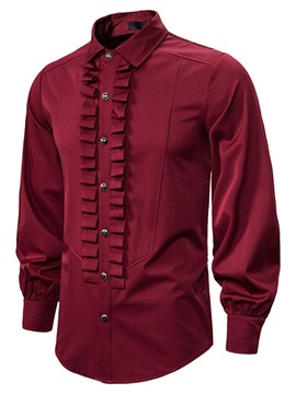 Ericdress Vintage Lapel Pleated Men's Slim Shirt