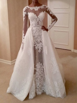 Ericdress Long Sleeves Watteau Floor-Length Sheath/Column Hall Wedding Dress