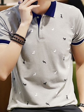 Ericdress Casual Print Polo Neck Polo Men's Shirt