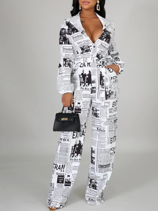 Ericdress Full Length Letter Print Loose Jumpsuit