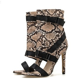 Ericdress Zipper Stiletto Heel Heel Covering Patchwork Sandals