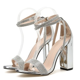 Ericdress Open Toe Line-Style Buckle Chunky Heel Plain Sandals