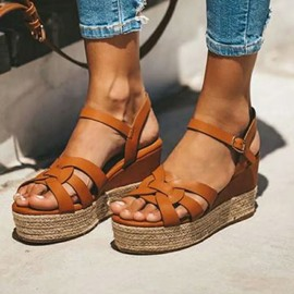 Ericdress Platform Line-Style Buckle Open Toe Plain Sandals