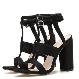 Ericdress T-Shaped Buckle Open Toe Chunky Heel Casual Sandals