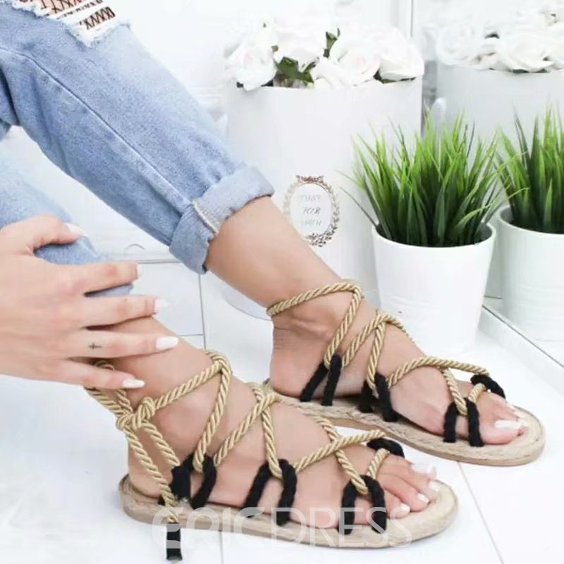 Ericdress Open Toe Flat With Lace-Up Casual Sandals 22183616 ...