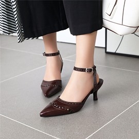 Ericdress Pointed Toe Stiletto Heel Line-Style Buckle Casual Sandals