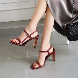 Ericdress Chunky Heel Schnalle Square Toe Casual Sandalen