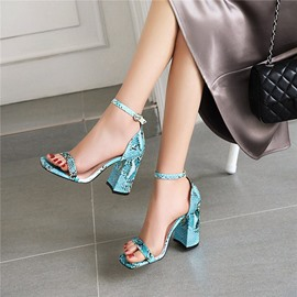 Ericdress Chunky Heel Line-Style Buckle Heel Covering Serpentine Sandals