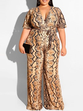 Ericdress Western Print Straight Slim Jumpsuit
