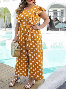 Ericdress Polka Dots Ankle Length Casual Loose Wide Legs Jumpsuit