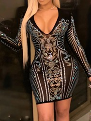 Ericdress See-Through Above Knee Long Sleeve Pullover Dress фото