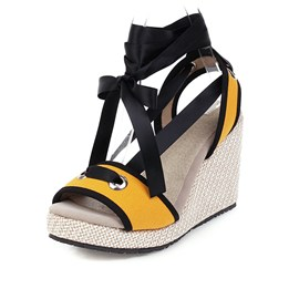 Ericdress Lace-Up Wedge Heel Open Toe Casual Sandals