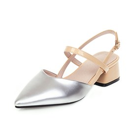 Ericdress Slip-On Pointed Toe Block Heel Patchwork Sandals