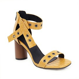 Ericdress Square Toe Zipper Heel Covering Casual Sandals