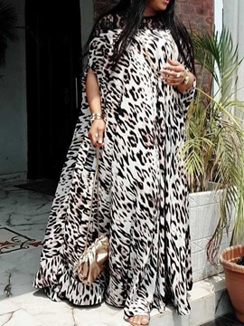 Ericdress Half Sleeve Patchwork Floor-Length Batwing Leopard Dress