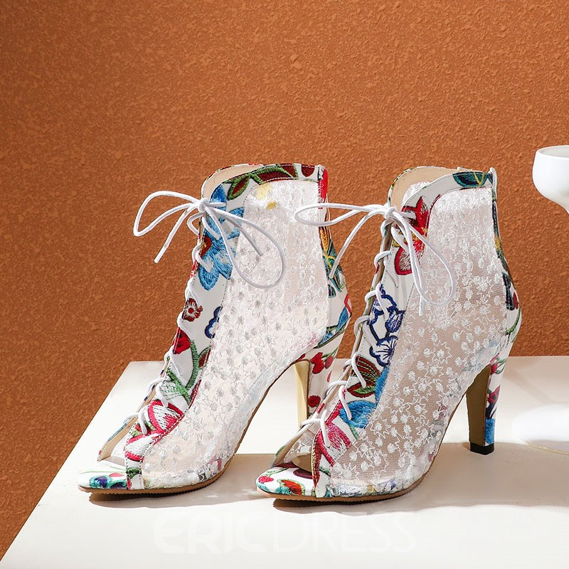 Ericdress Peep Toe Back Zip Chunky Heel Embroidery Boots