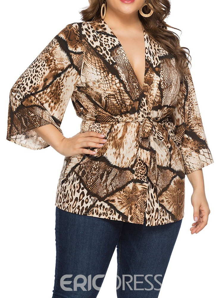 Ericdress Print Mid-Length Three-Quarter Sleeve Blouse
