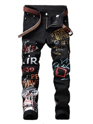 Ericdress Pencil Letter Mid Waist Button Mens Jeans фото
