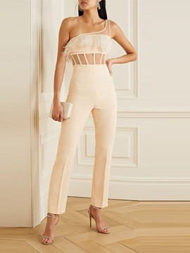 Ericdress Plain Ankle Length Western Slim Straight Jumpsuit