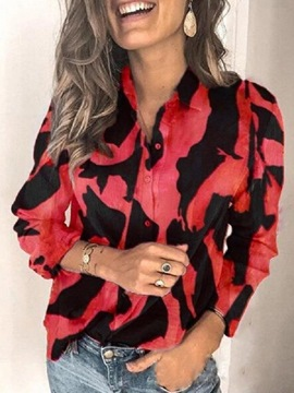 Ericdress Lapel Print Long Sleeve Standard Blouse