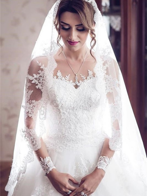 Ericdress Jewel Cathedral Button Ball Gown Church Wedding Dress