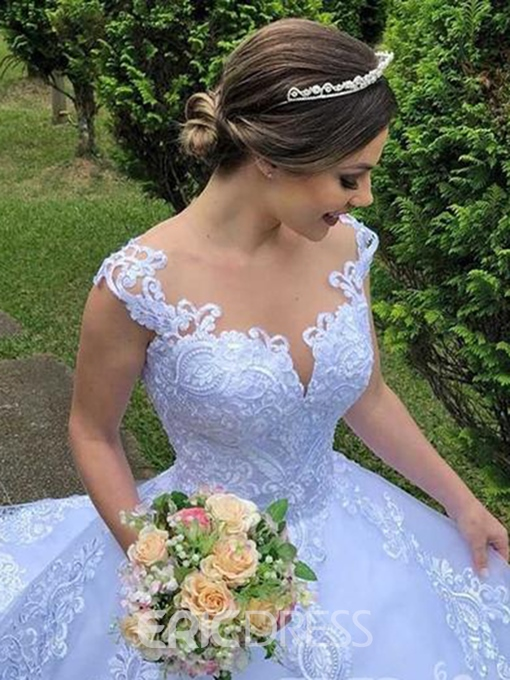 Ericdress Appliques Straps Ball Gown Outdoor Wedding Dress