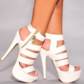 Ericdress Zipper Open Toe Stiletto Heel Thread Sandals