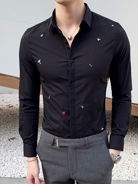 Ericdress Embroidery Lapel Casual Single-Breasted Fall Shirt