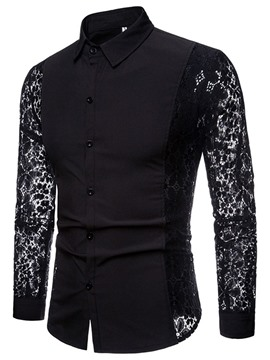 Ericdress Lace Casual Floral Slim Shirt