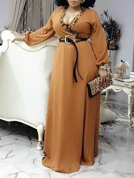 Ericdress Long Sleeve Print Floor-Length Leopard High Waist Dress