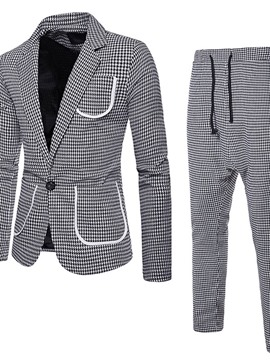 Ericdress One Button Houndstooth Blazer Dress Suit