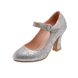 Ericdress Buckle Sequin Round Toe 8cm Thin Shoes