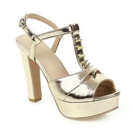 Ericdress Peep Toe Chunky Heel T-Shaped Buckle Casual Sandals