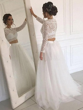 Ericdress Long Sleeves Jewel A-Line Floor-Length Beach Wedding Dress