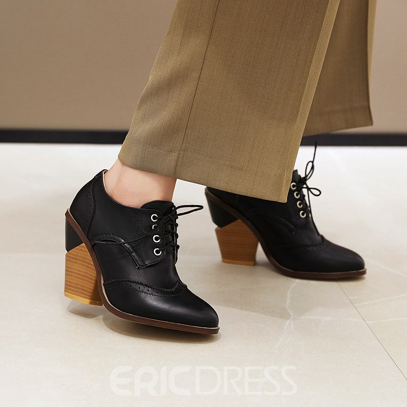 Ericdress Plain Lace-Up Front Round Toe Casual Boots
