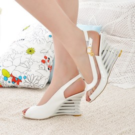 Ericdress Peep Toe Slip-On Wedge Heel Casual Sandals