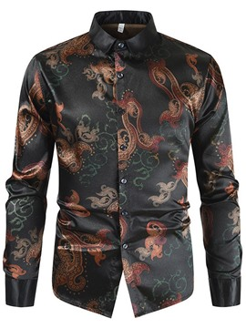 Ericdress Lapel Casual Print Slim Shirt