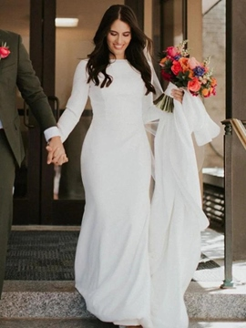 Ericdress Bateau Long Sleeves Floor-Length Trumpet/Mermaid Church Wedding Dress