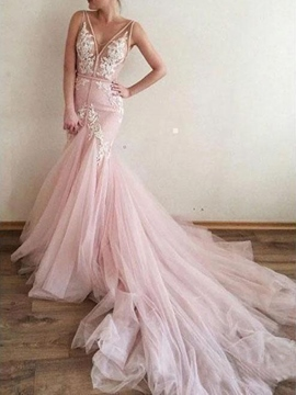 Ericdress Trumpet/Mermaid Court Floor-Length Appliques Hall Wedding Dress