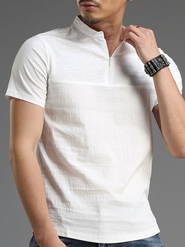 Ericdress Stand Collar Plain Casual Loose Men's Shirt